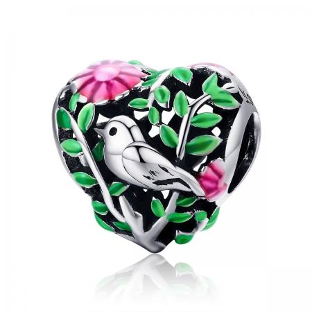 Charm argint 925 inimioara cu floricele si vrabiuta - Be in Love PST0129
