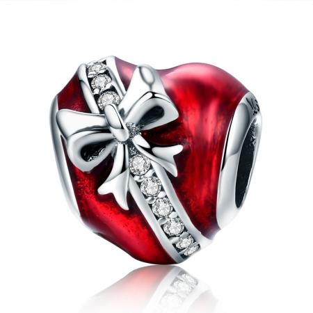 Charm argint 925 inimioara rosie cu fundita si zirconii albe - Be in Love PST0131