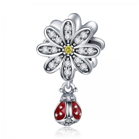 Charm argint 925 cu floare si gargarita - Be Lucky PST0134