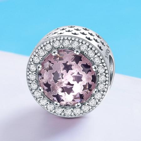 Charm argint 925 cu stelute roz si zirconii albe - Be Nature PST01363