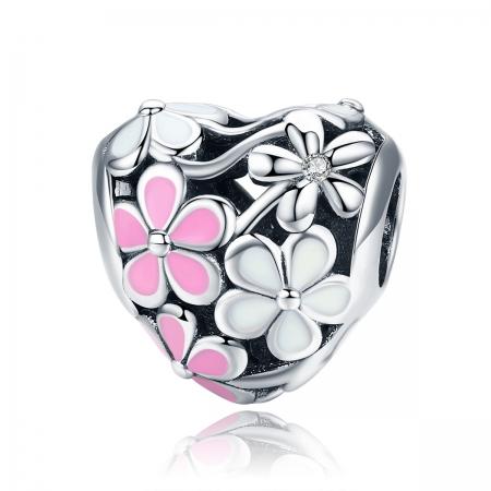 Charm argint 925 inimioara cu floricele albe si roz - Be in Love PST0139