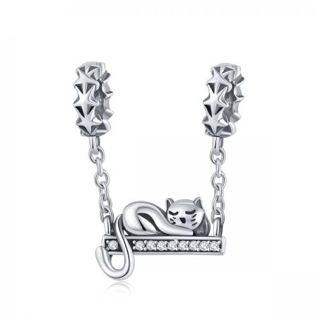 Charm argint 925 cu pisicuta, stelute si zirconii - Be Nature PST0145