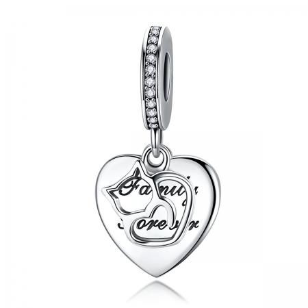 Charm argint 925 cu inimioara, pisicuta si zirconii - Be Nature PST0146