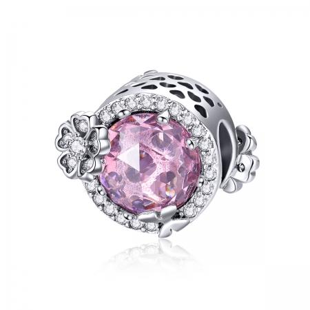 Charm argint 925 cu floricele, fluturasi si zirconii albe si roz - Be Nature PST0151