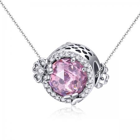 Charm argint 925 cu floricele, fluturasi si zirconii albe si roz - Be Nature PST01514