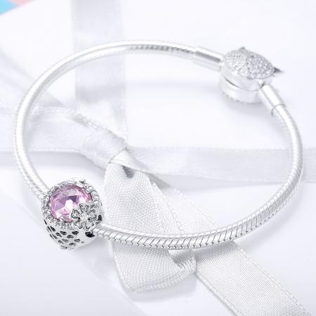 Charm argint 925 cu floricele, fluturasi si zirconii albe si roz - Be Nature PST01511