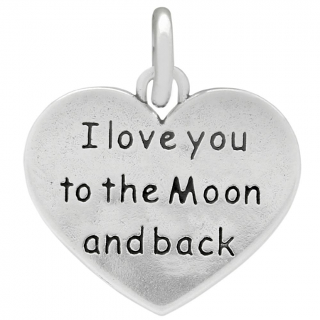 Pandant argint 925 cu doua fete I love you to the Moon and back PSX0633 - Be In Love