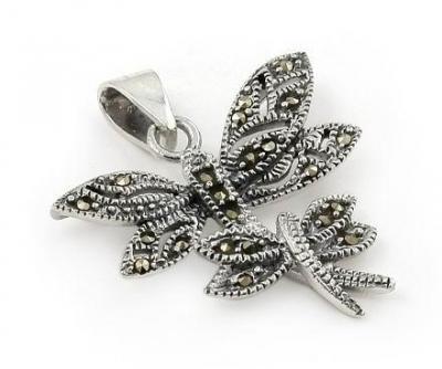 Pandant argint 925 cu marcasite si doi fluturasi