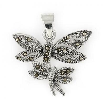 Pandant argint 925 cu marcasite si doi fluturasi1