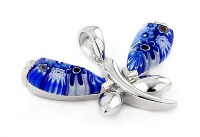 Pandant argint 925 cu sticla de Murano in forma de fluturas0