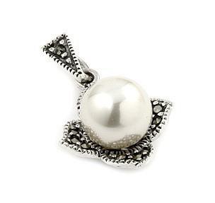 Pandant argint 925 in forma de floare cu marcasite si perla0
