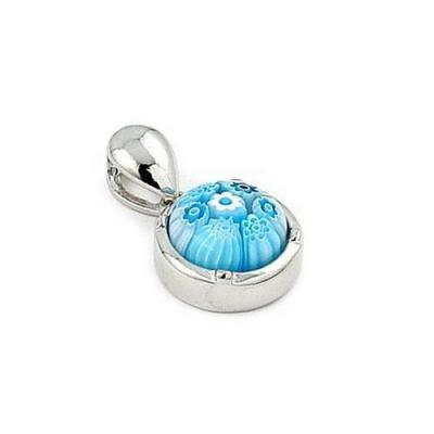Pandant argint 925 si sticla de Murano rotund0