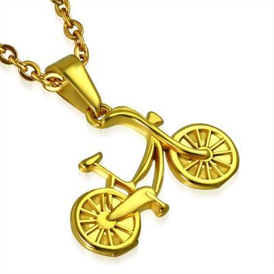Pandant auriu din inox in forma de bicicleta