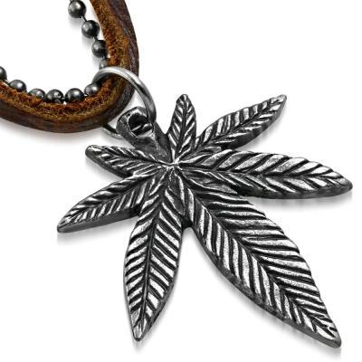 Pandant frunza de Marijuana cu lant militar si snur piele0