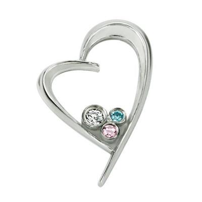Pandant otel inimioara cu zirconii si cutiuta bijuterii