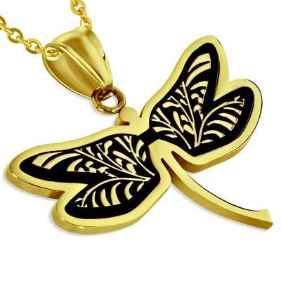 Pandantiv elegant din inox auriu cu fluturas