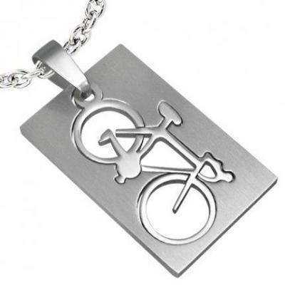 Pandant otel inox placuta cu bicicleta