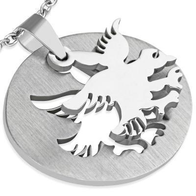 Pandant otel inox placuta cu vultur [1]