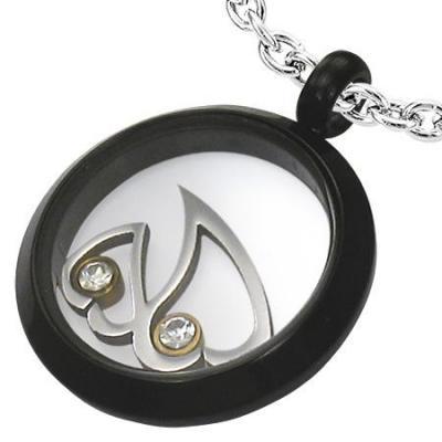 Pandant otel negru cu doua inimioare si zirconii