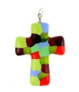 Pandant sticla Murano in forma de cruce0