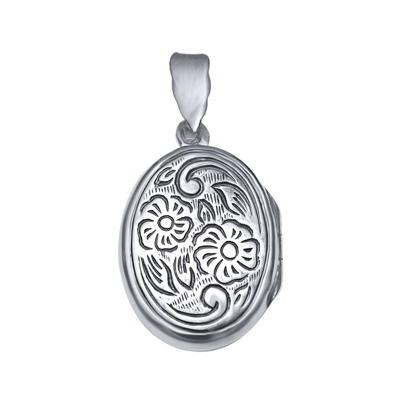 Pandantiv argint 925 rodiat gravat cu doua floricicele - Be Nature - BeSpecial1