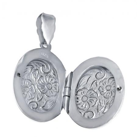 Pandantiv argint 925 rodiat gravat cu doua floricicele - Be Nature - BeSpecial