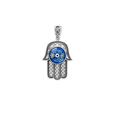 Pandantiv argint 925 Hamsa Mana lui Fatima cu murano1