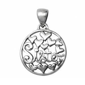 Pandantiv argint 925 SORA SISTER cu inimioare
