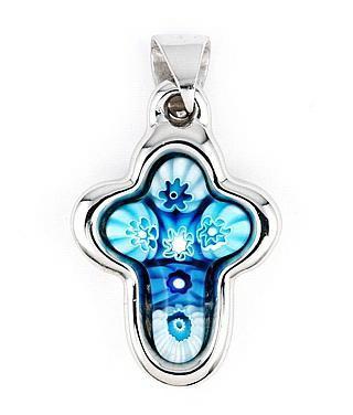 Pandantiv argint 925 cruce cu sticla Murano bleu1