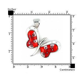Pandantiv argint 925 fluturas cu sticla Murano rosie2