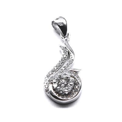 Pandantiv argint 925 rodiat floare cu zirconii0