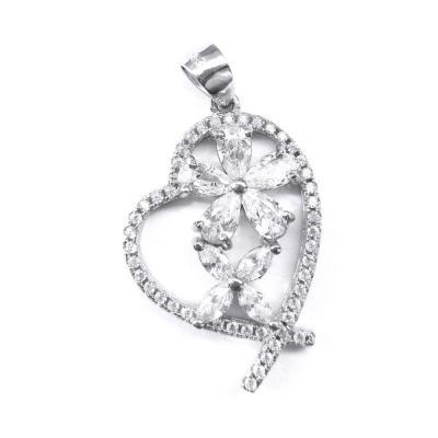 Pandantiv argint 925 rodiat inima cu floricele0