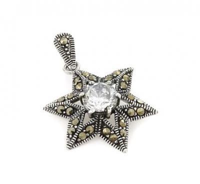 Pandantiv argint 925 stea cu zirconiu si marcasite0
