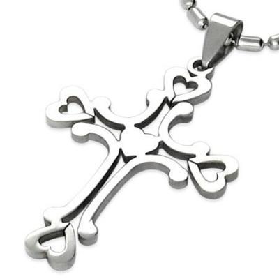 Pandantiv otel in forma de cruce cu inimioare