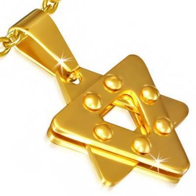 Pandantiv inox auriu cu Steaua lui David