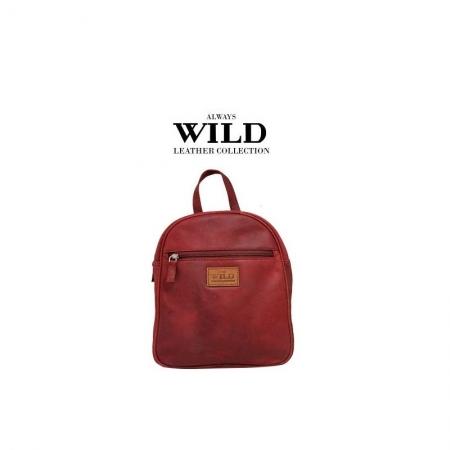 Rucsac piele naturala Wild RUC02 Rosu0