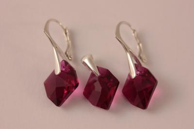 Set argint 925 cu swarovski elements 14 mm Ruby