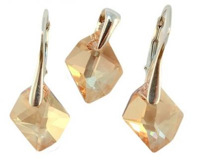 Set argint 925 cu swarovski elements 14 mm Golden Shadow