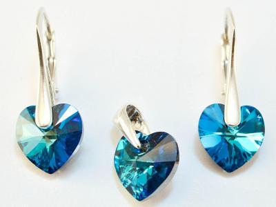 Set argint 925 cu swarovski elements 10 mm culoare Bermuda Blue