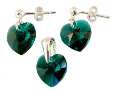 Set argint 925 cu swarovski elements 10 mm Emerald