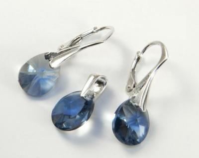 Set argint 925 cu swarovski elements Culoare Denim Blue
