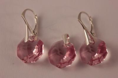 Set argint 925 cu swarovski elements 14 mm Lt. Rose