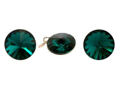 Set argint 925 cu swarovski elements 12 mm Emerald