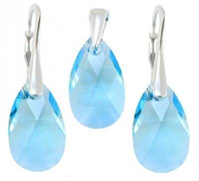 Set argint 925 cu swarovski elements 16 mm Aquamarine