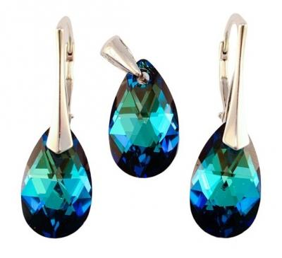 Set argint 925 cu swarovski elements 16 mm Bermuda Blue