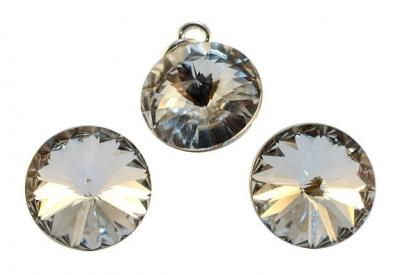 Set argint 925 cu swarovski elements 12 mm Crystal Clear