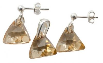 Set argint 925 cu swarovski elements Golden Shadow