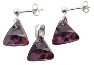 Set argint 925 cu swarovski elements Liliac Shadow