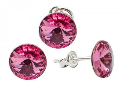 Set argint 925 cu swarovski elements 8 mm Rose