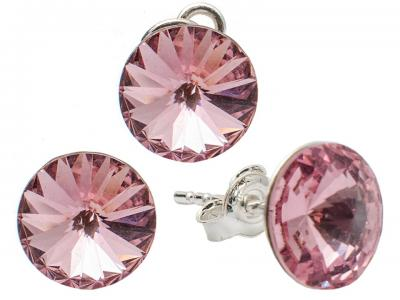 Set argint 925 cu swarovski elements 8 mm Lt. Rose